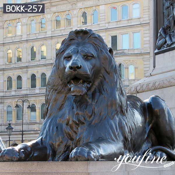 Large Antique Bronze Lion Statue Front Porch BOKK-257