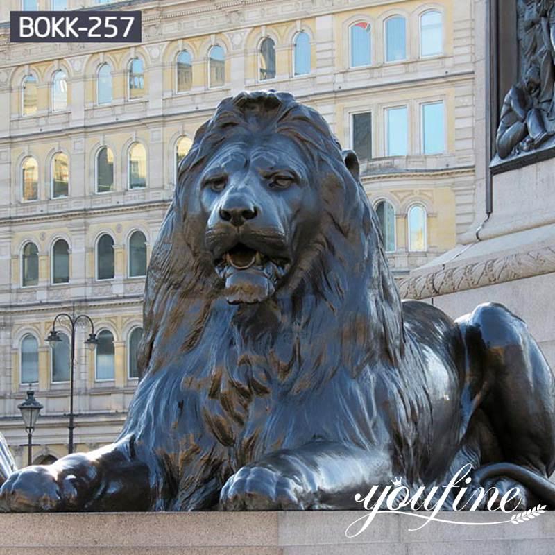 Large Antique Bronze Lion Statue Front Porch