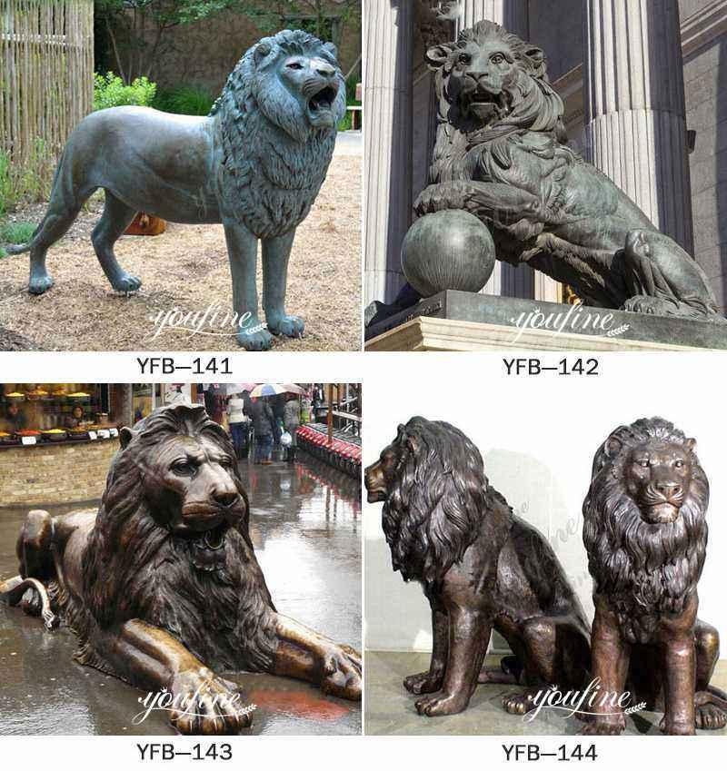Large Antique Bronze Lion Statue Front Porch More Designs