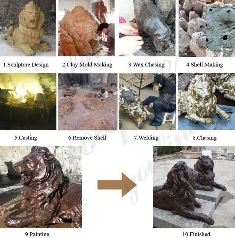 process-of-Large Antique Bronze Lion Statue Front Porch