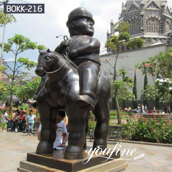 Famous Bronze Bernando Botero Man on Horse Sculpture for Sale BOKK-216