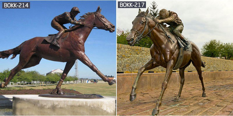 Life Size Bronze Horse and Jockey Statue Racecourse Ornament