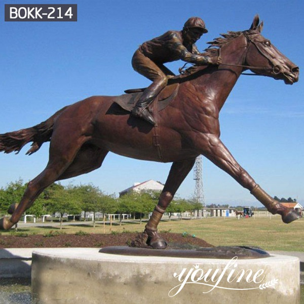 Life Size Bronze Horse and Jockey Statue Racecourse Ornament BOKK-214