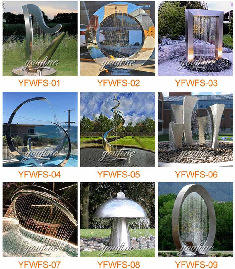 metal water fountains outdoor