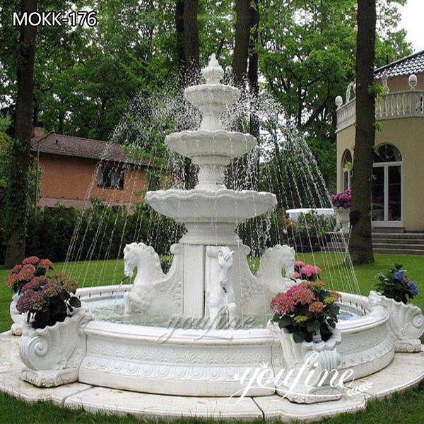 Beautiful Three Tiered Marble Horse Fountain for Sale MOKK-176