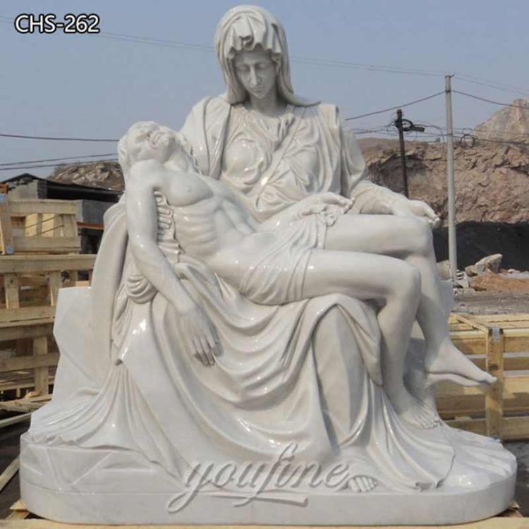 Hand Carved Marble Pieta Statue by Michelangelo for Sale CHS-262