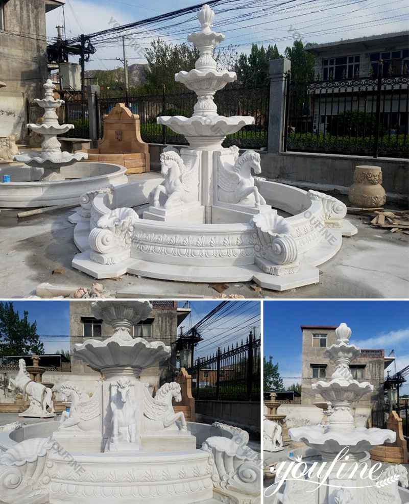 Tiered Marble Horse Fountain for Sale