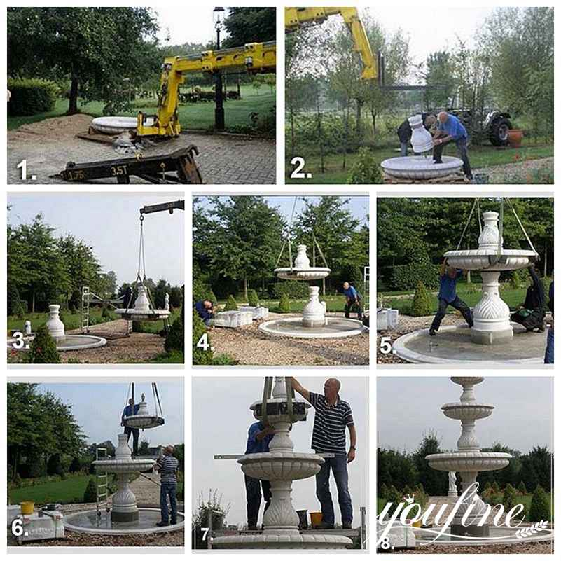 large outdoor horse fountain installation