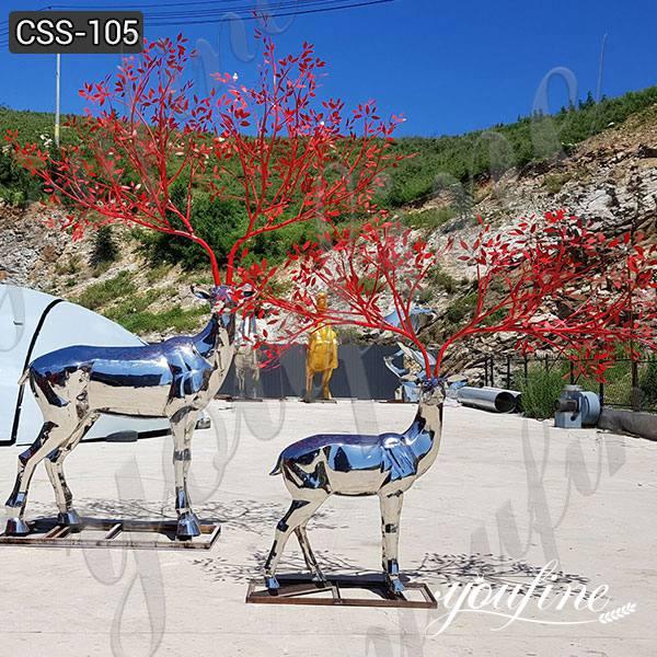 Modern Stainless Steel Deer Sculpture