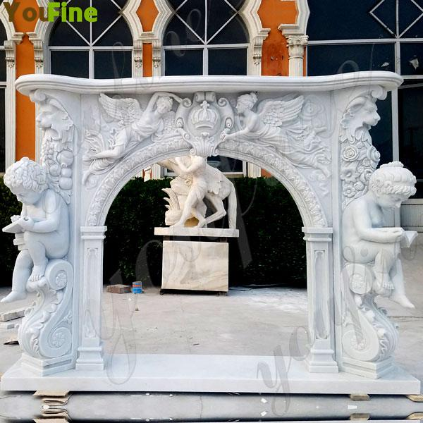 Angel White Marble French Fireplace Hand Carved for Sale MOKK-131