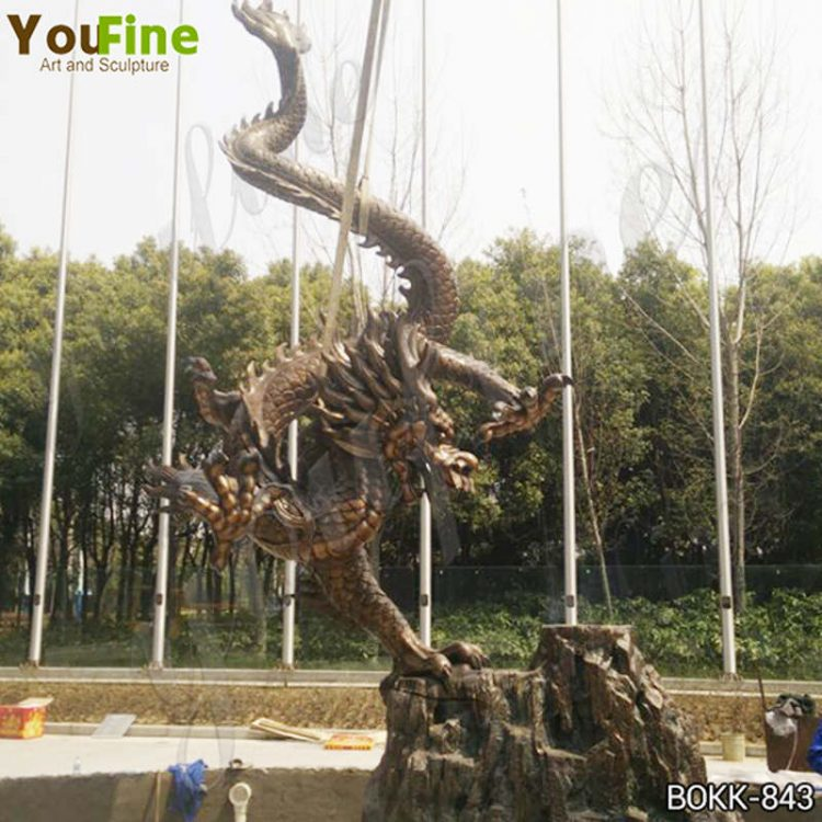 Chinese Bronze Dragon Statue Outdoor for Sale BOKK-843