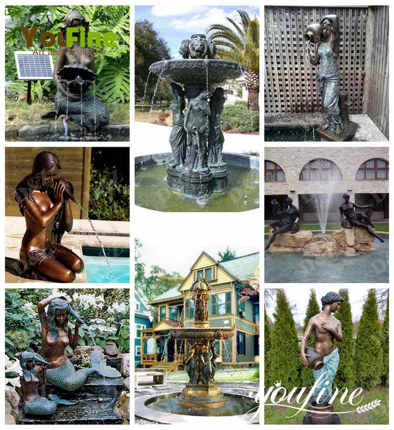 Large Antique Bronze Sculpture Fountain