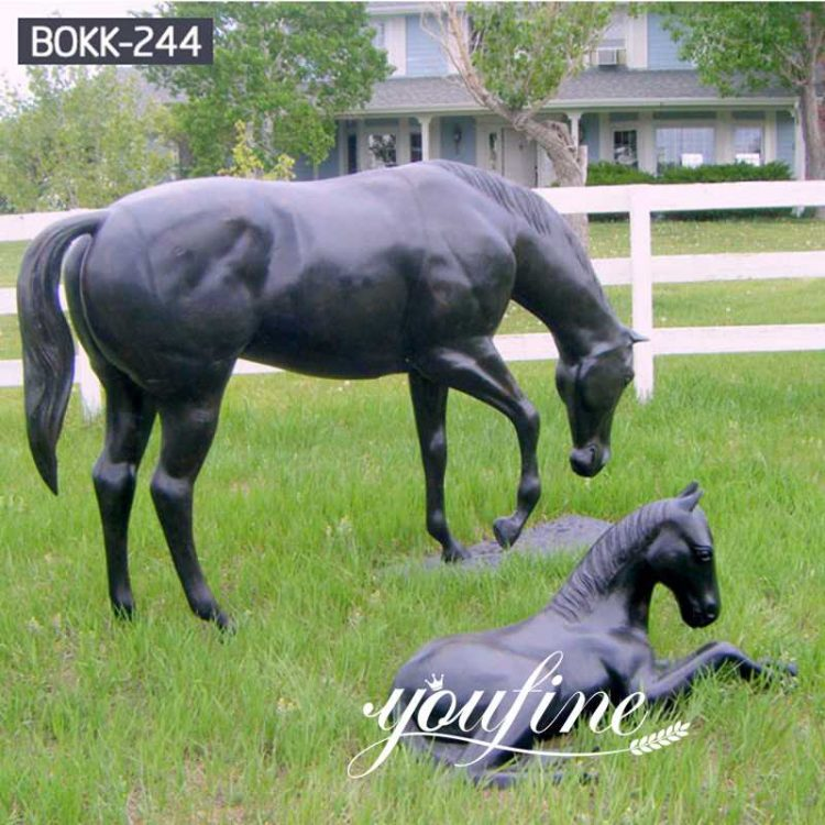Life Size Outdoor Black Bronze Horse Statue for sale BOKK-244