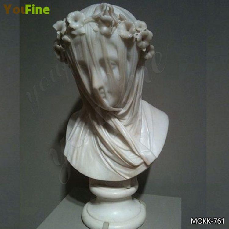 Natural White Marble Bust Veil Vestal Virgin Statue for Sale MOKK-761