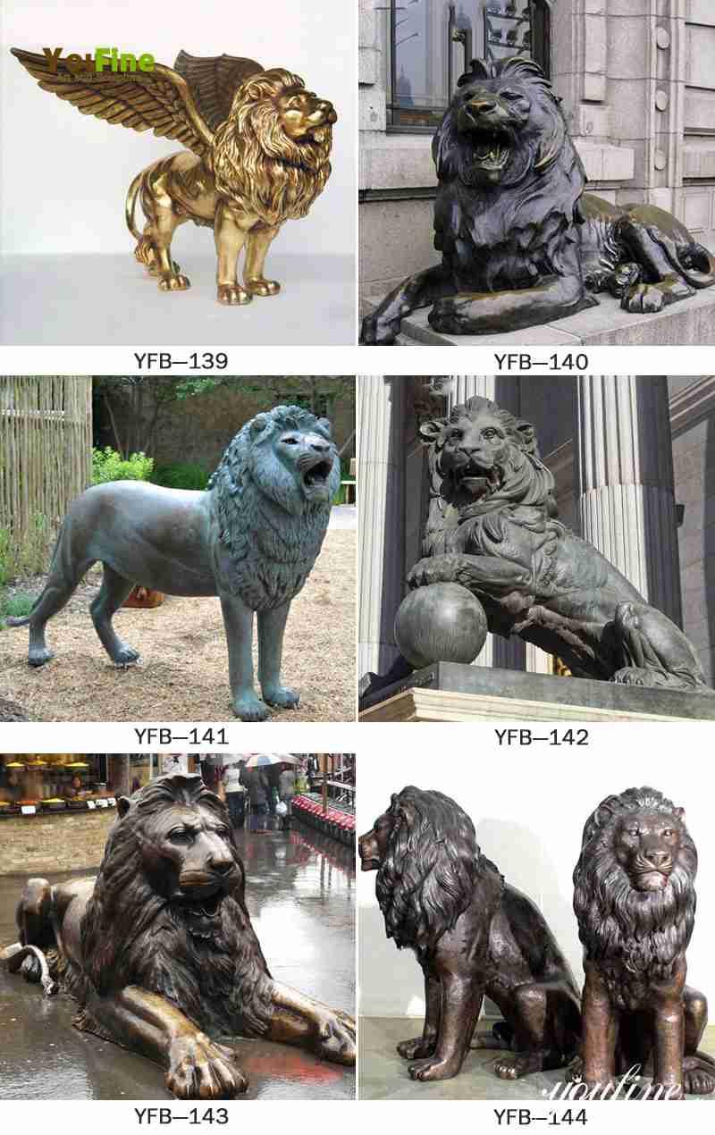bronze large lion statue