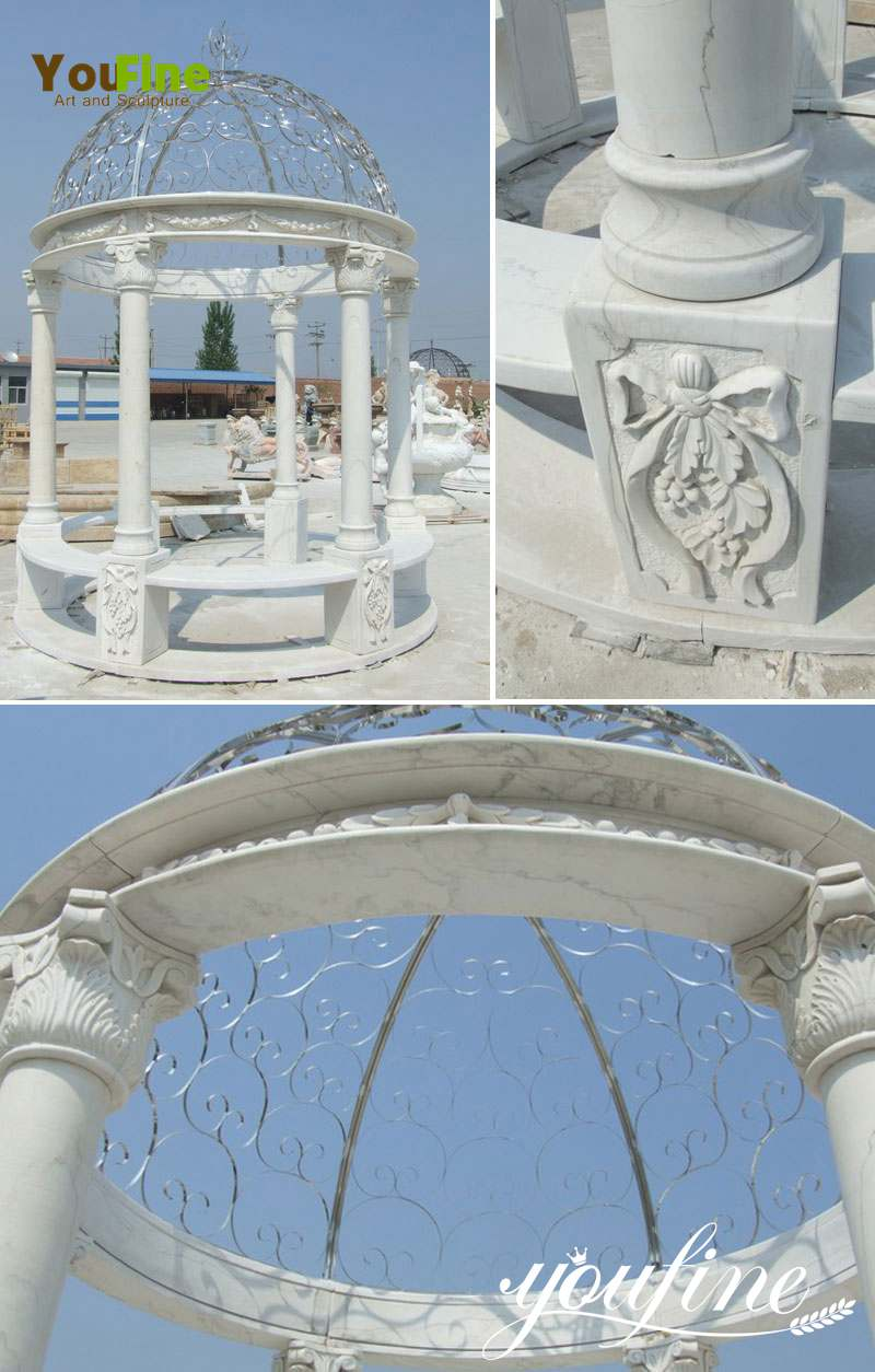 Factory Supplier Garden White Marble Stone Gazebo