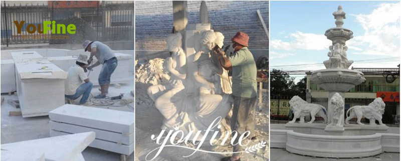 Carved White Marble Fountain carving process