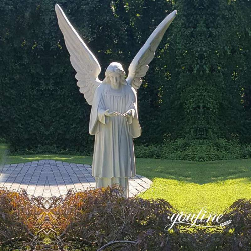 Garden Grand Cathedral White Marble Angel Statue for Sale MOKK-