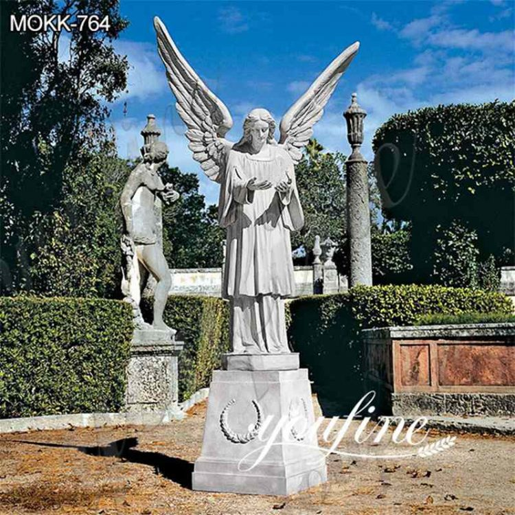 Garden Grand Cathedral White Marble Angel Statue for Sale MOKK-764