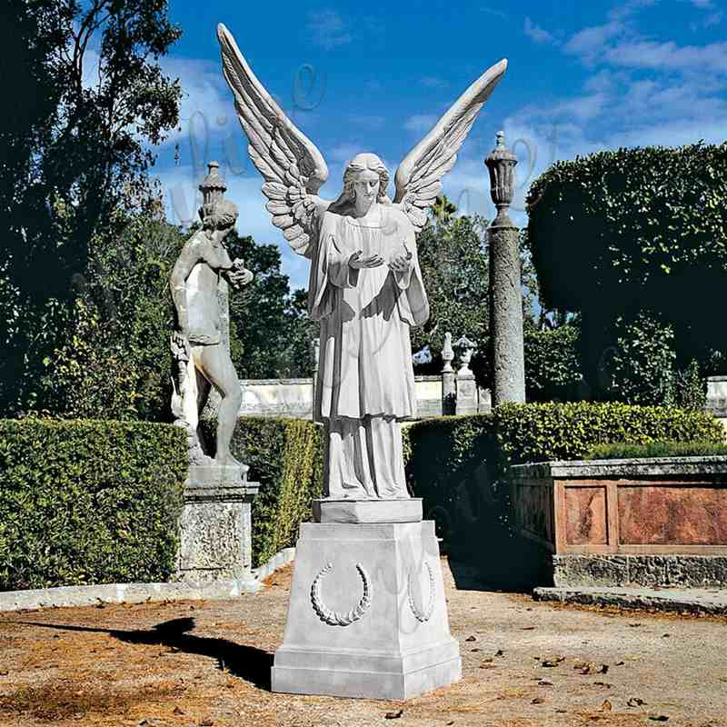Garden Grand Cathedral White Marble Angel Statue for Sale