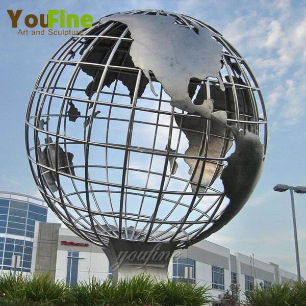 Modern Metal Stainless Steel Globe Sculpture for Sale CSS-26