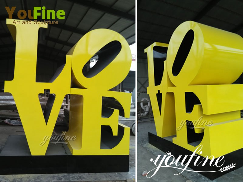 Modern Metal Stainless Steel Love letter Sculpture Decoration