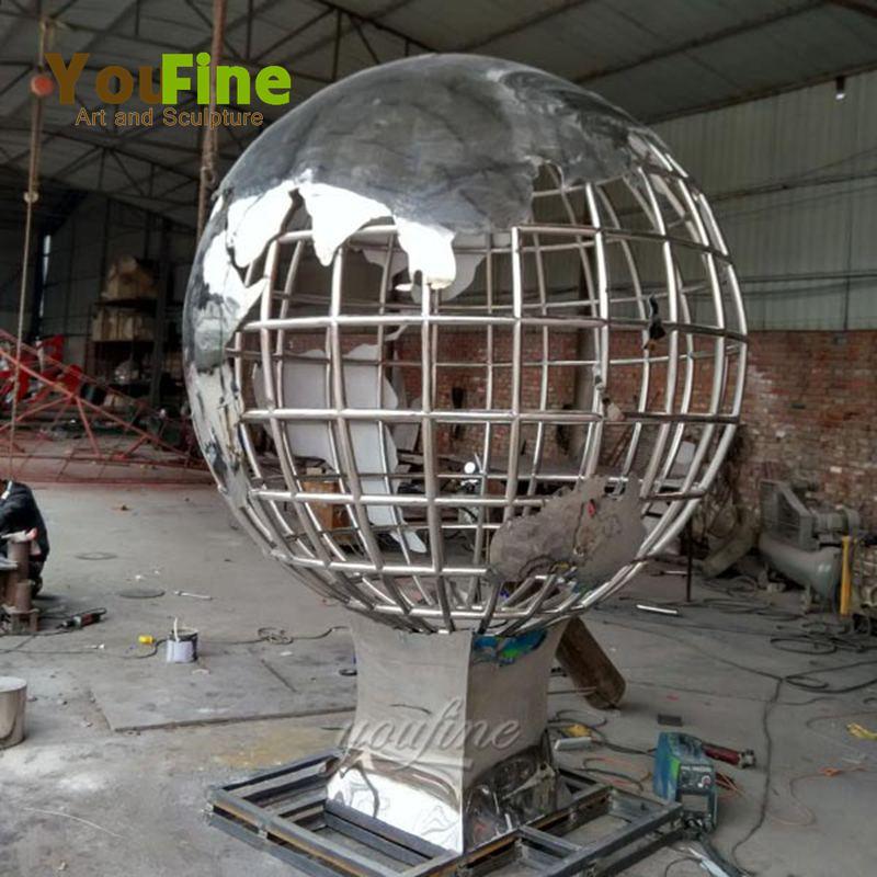 Modern metal factory supply stainless steel globe sculpture