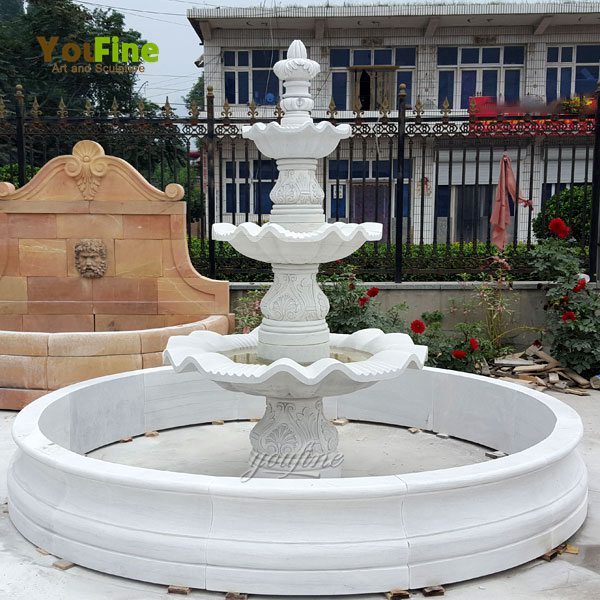 Outdoor Carved White Marble Fountain for Sale MOKK-97