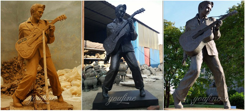 Life Size Famous Elvis Presley Bronze Figure Sculpture