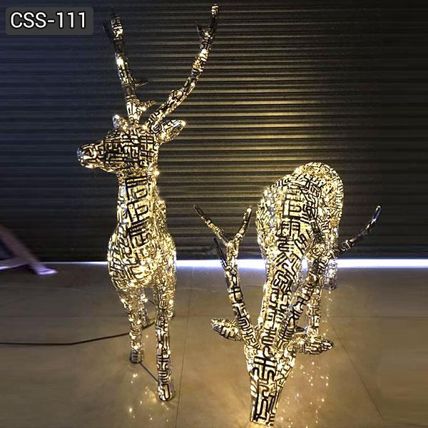 Outdoor Modern Abstract Design Light Metal Deer Sculpture for Sale CSS-111
