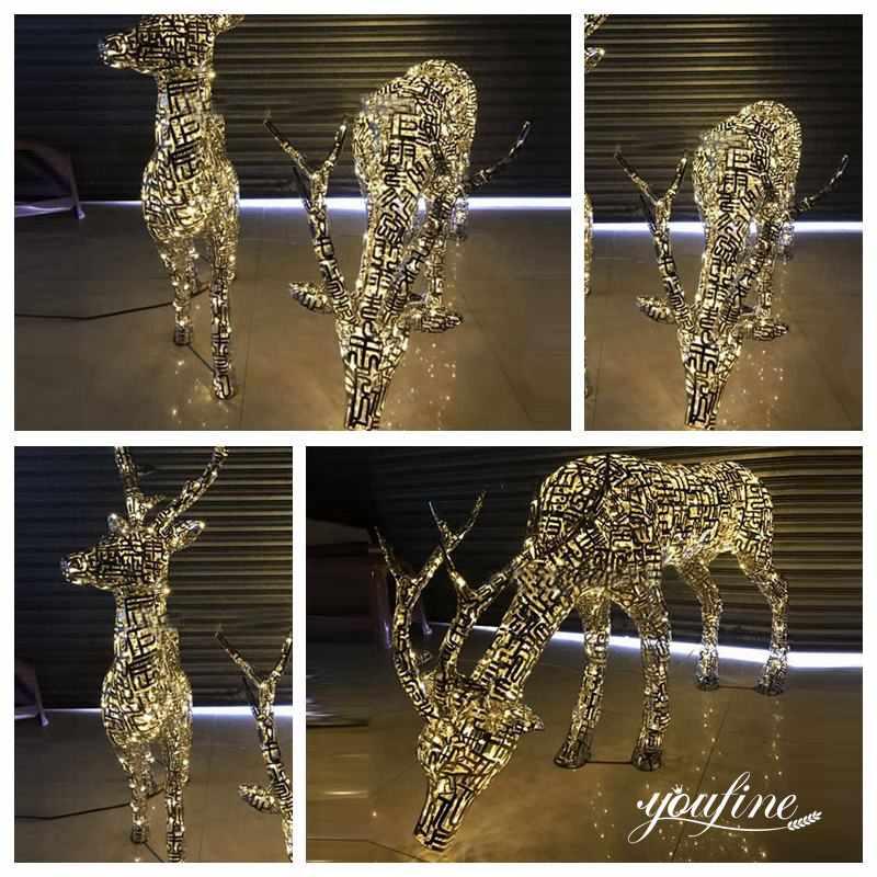 Outdoor Modern Abstract Design Light Metal Deer Sculpture