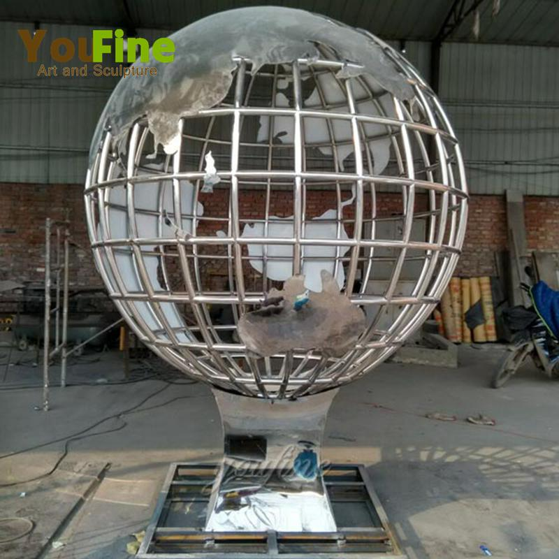 globe stainless steel garden sculpture