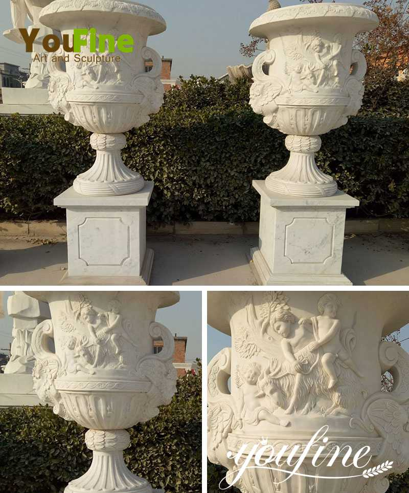 manufacture Garden Large Hand Carved Marble Flower Pot for Sale