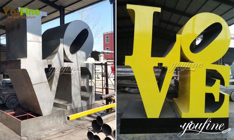 modern outdoor Metal Stainless Steel Love Sculpture Decoration
