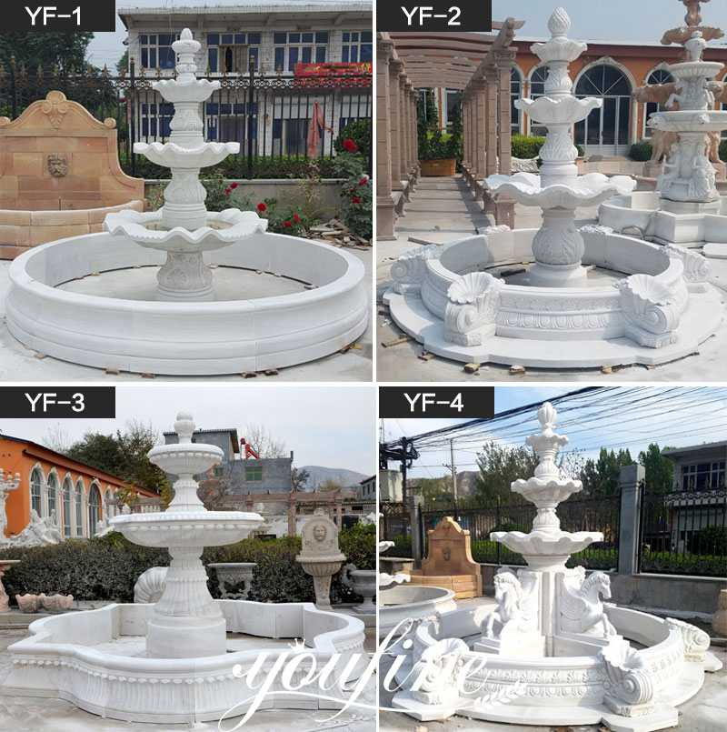 outdoor carved white marble three tired water fountain for sale