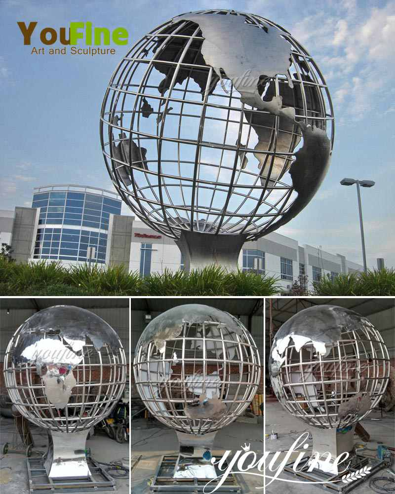 popular globe stainless steel globe sculptures for salepopular globe stainless steel globe sculptures for sale