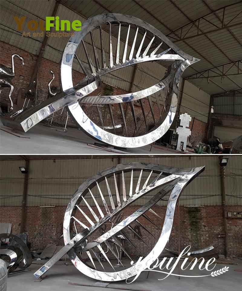 Garden Large Stainless Steel Metal Leaf Sculpture