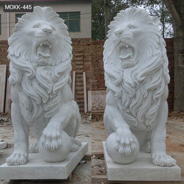 Garden Natural White Marble Lions Sculpture for Sale MOKK-445