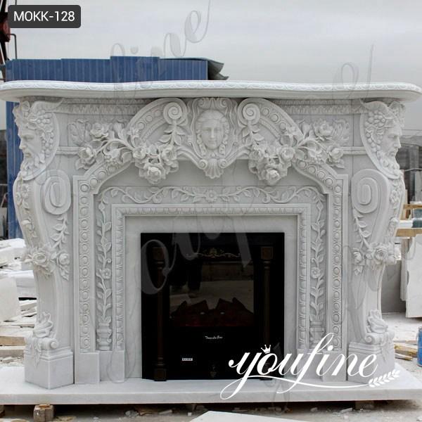 White Modern Mantel Marble Fireplace for Sale MOKK-128