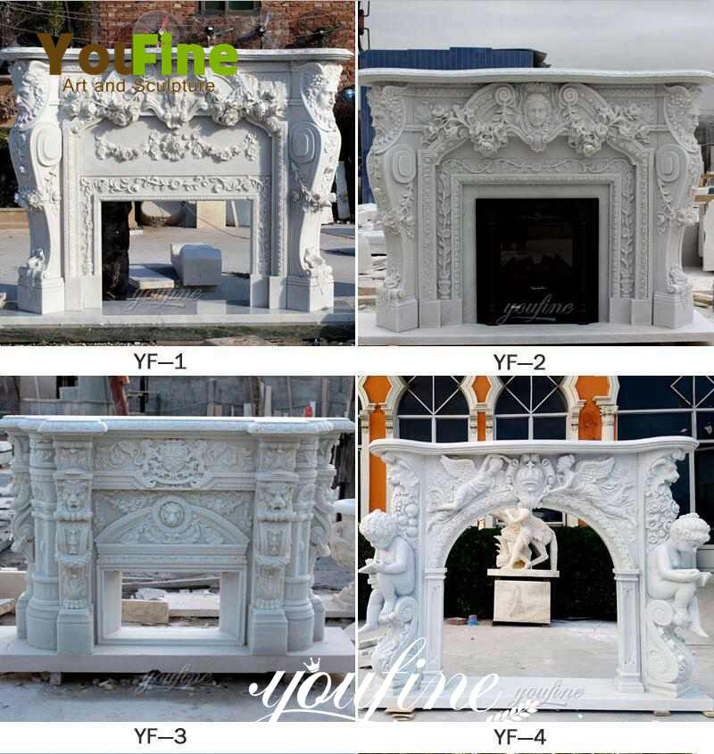 White Modern Mantel Marble Fireplace surround for sale