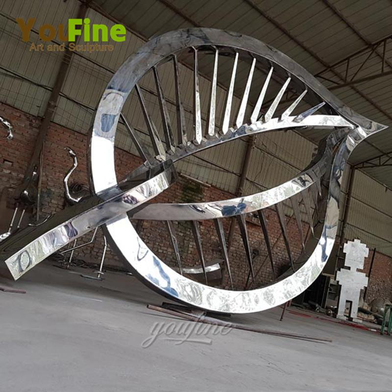 famous contemporary outdoor metal art stainless steel leaf design for square decor for sales