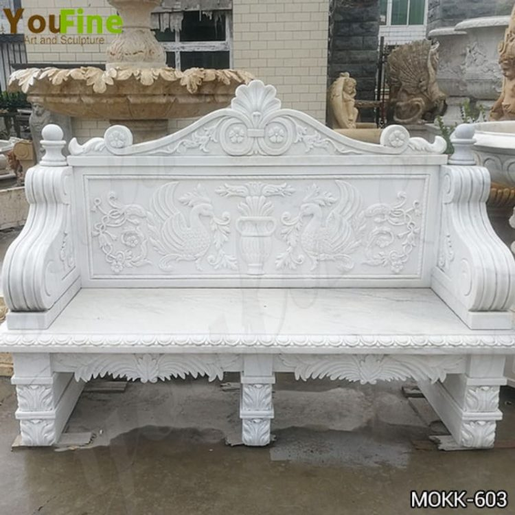 Hand Carved White Marble Bench for Outdoor Decor for Sale MOKK-603