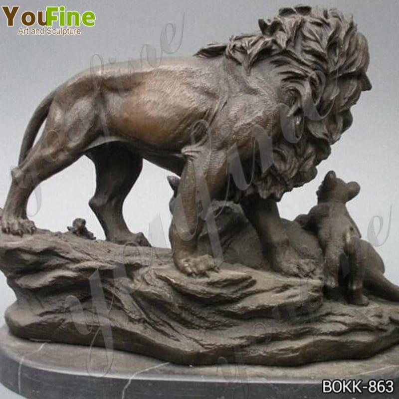 vintage bronze lion statue