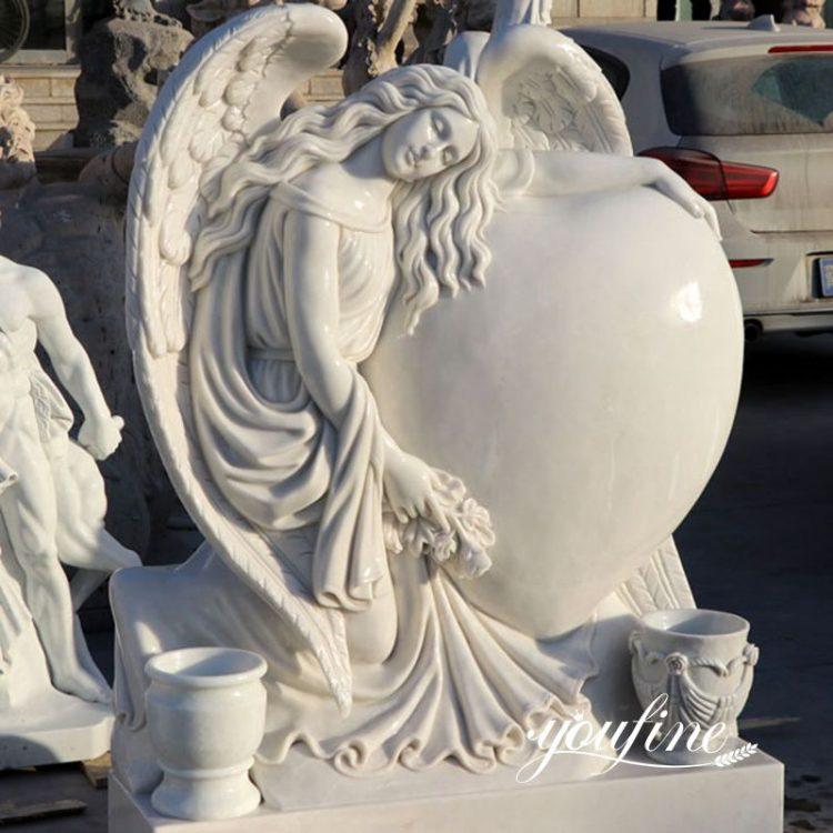 Angel White Marble Headstone with Heart Design for Sale MOKK-39