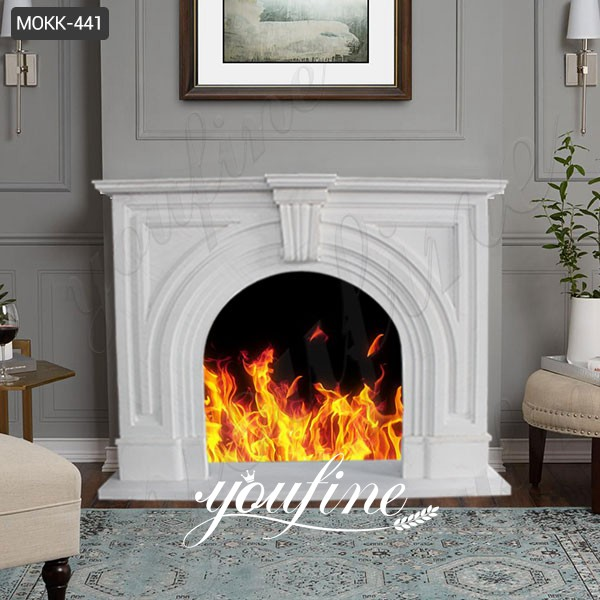 Mantel White Marble Fireplace Surround for Sale MOKK-441