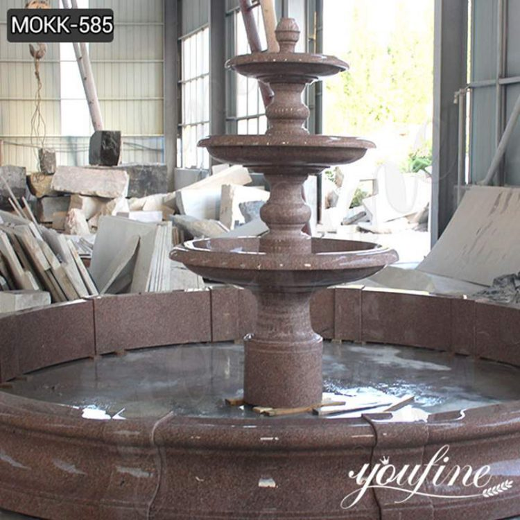 Outdoor Red Three-Tiered Water Fountain for Sale MOKK-585