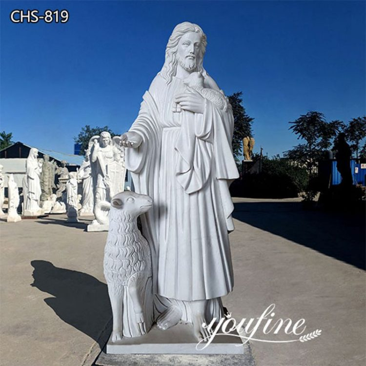 Life-Size Marble Jesus Good Shepherd Statue for Sale CHS -819