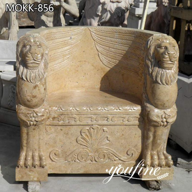 Hand-Carved Garden Outdoor Marble Bench for Sale MOKK-856