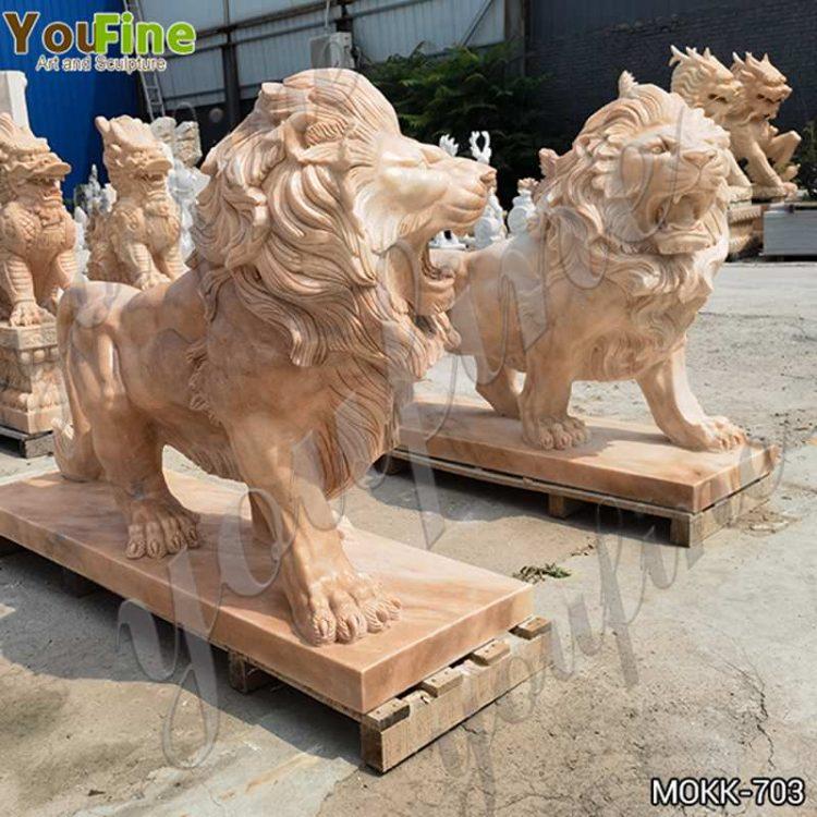 Beige Marble Lion Statues for Gate Decoration for Sale MOKK-703