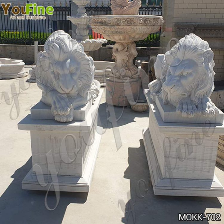 Western Style White Marble Lion Statues Suppliers MOKK-702